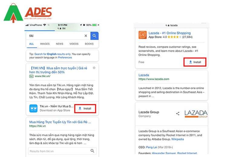 Phan mo rong Google Ads  ve ung dung