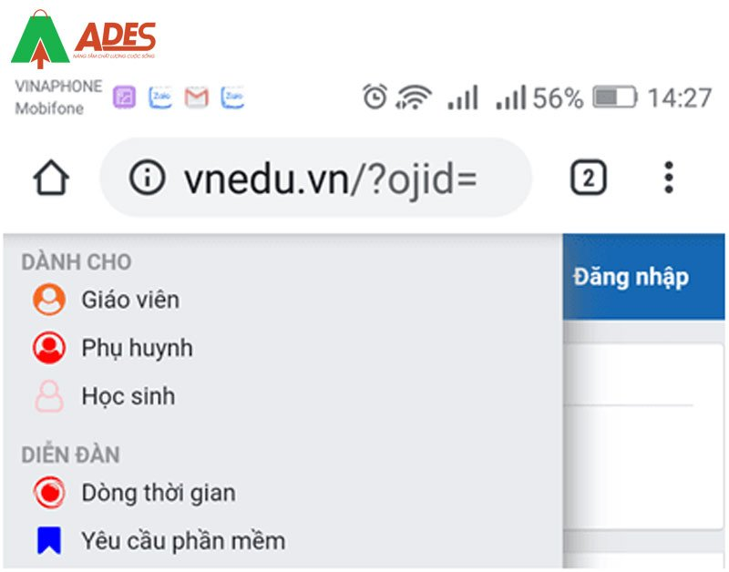 Click vao thanh menu Chon menu Phu huynh